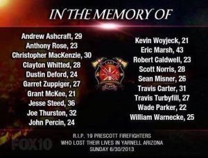 The Deceased Members of the Granite Mountain Hotshots