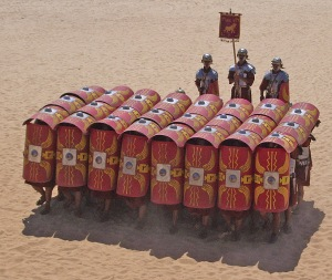 Re-enactors in a testudo formation